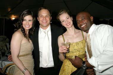 Idina Menzel, Norbert Leo Butz, Michelle Federer, Taye Diggs at arrivals for Dirty Rotten Scoundrels Tony Awards After Party, Bryant Park Grill, New York, NY, Sunday, June 05, 2005. Photo by: Rob Rich/Everett Collection