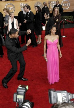 Will Smith, Jada Pinkett Smith (wearing a vintage Bob Mackie dress) at arrivals for 13th Annual Screen Actors Guild SAG Awards - ARRIVALS, The Shrine Auditorium, Los Angeles, CA, January 28, 2007. Photo by: Michael Germana/Everett Collection