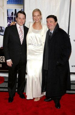 Matthew Broderick, Uma Thurman, Nathan Lane at arrivals for THE PRODUCERS Premiere, The Ziegfeld Theatre, New York, NY, December 04, 2005