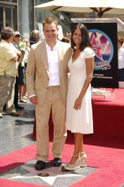 Matt Damon, Luciana Barroso at the induction ceremony for STAR ON THE HOLLYWOOD WALK OF FAME for Matt Damon, Hollywood Boulevard, Los Angeles, CA, July 25, 2007. Photo by: Michael Germana/Everett Collection