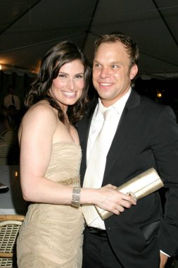 Idina Menzel, Norbert Leo Butz at arrivals for Dirty Rotten Scoundrels Tony Awards After Party, Bryant Park Grill, New York, NY, Sunday, June 05, 2005. Photo by: Rob Rich/Everett Collection