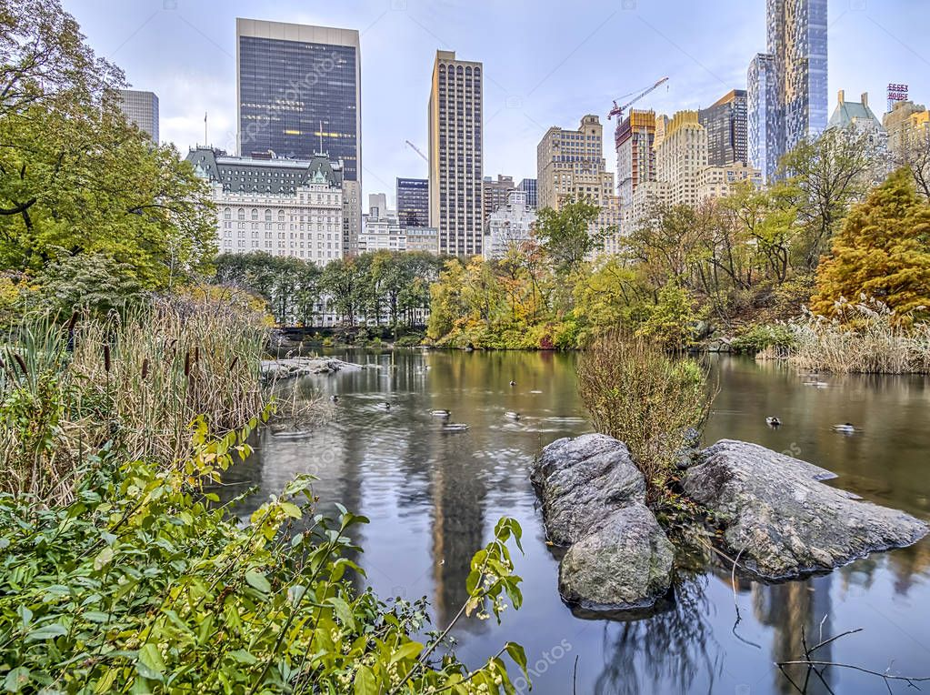 Central Park, New York City plaza hotel in autumn