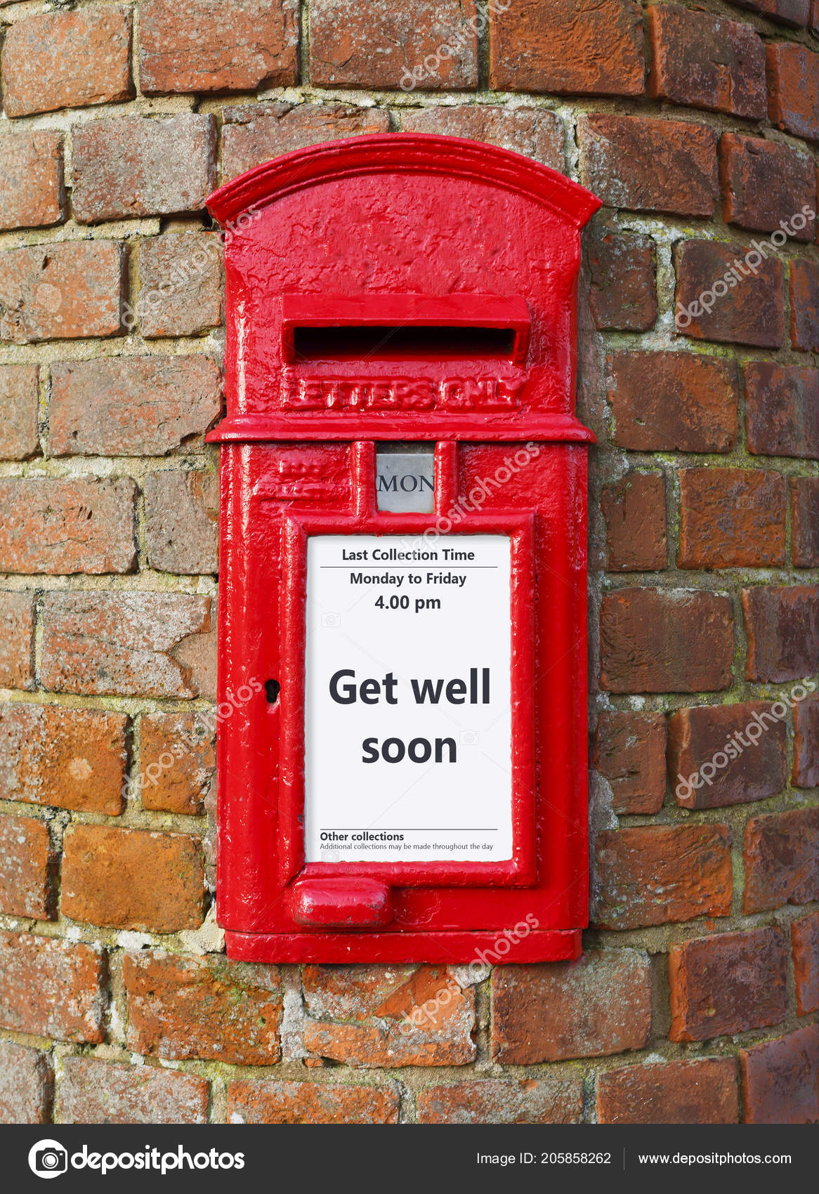 British Post Box Message Reads Get Well Soon Ideal Greeting Stock
