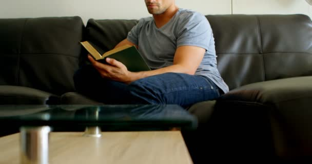 Man reading a book in living room at home 4k