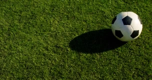 Soccer player kicking the ball in the field 4k