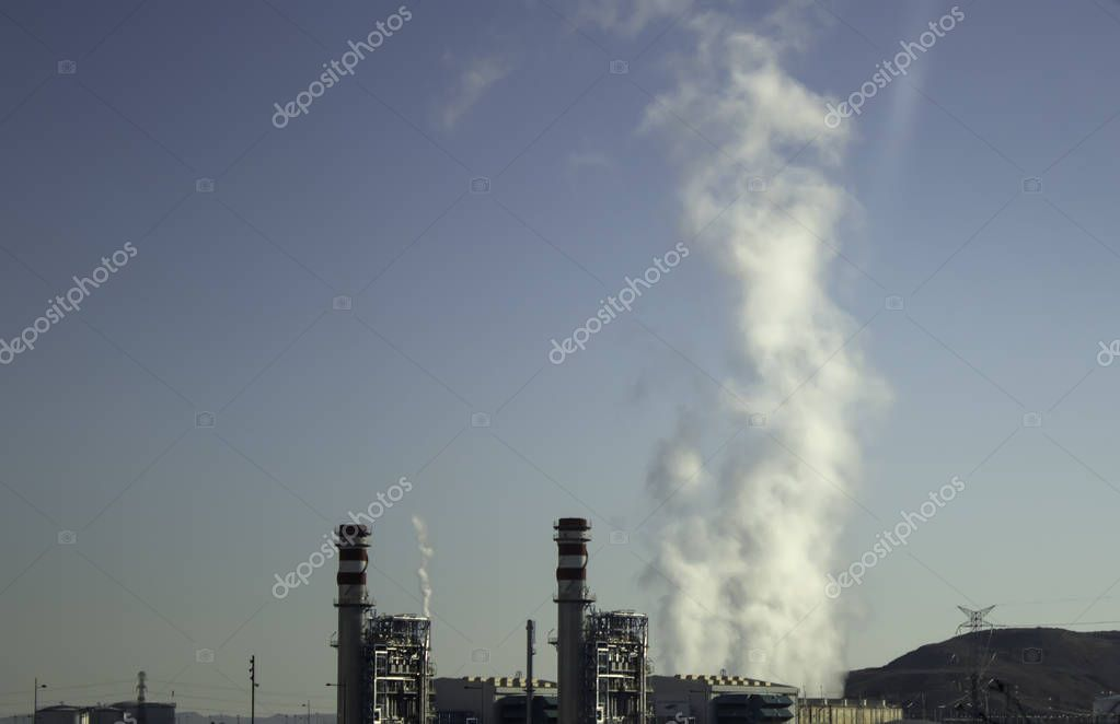 Nuclear factory with chimney polluting smoke, environment, ecology
