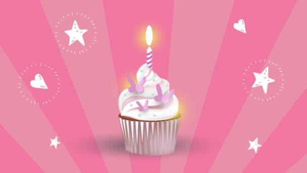 ízletes Cupcake egy gyertyát a rózsaszín háttér