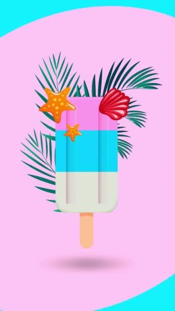 fagylaltot egy bottal díszített gallyak és héjak egy animált háttér