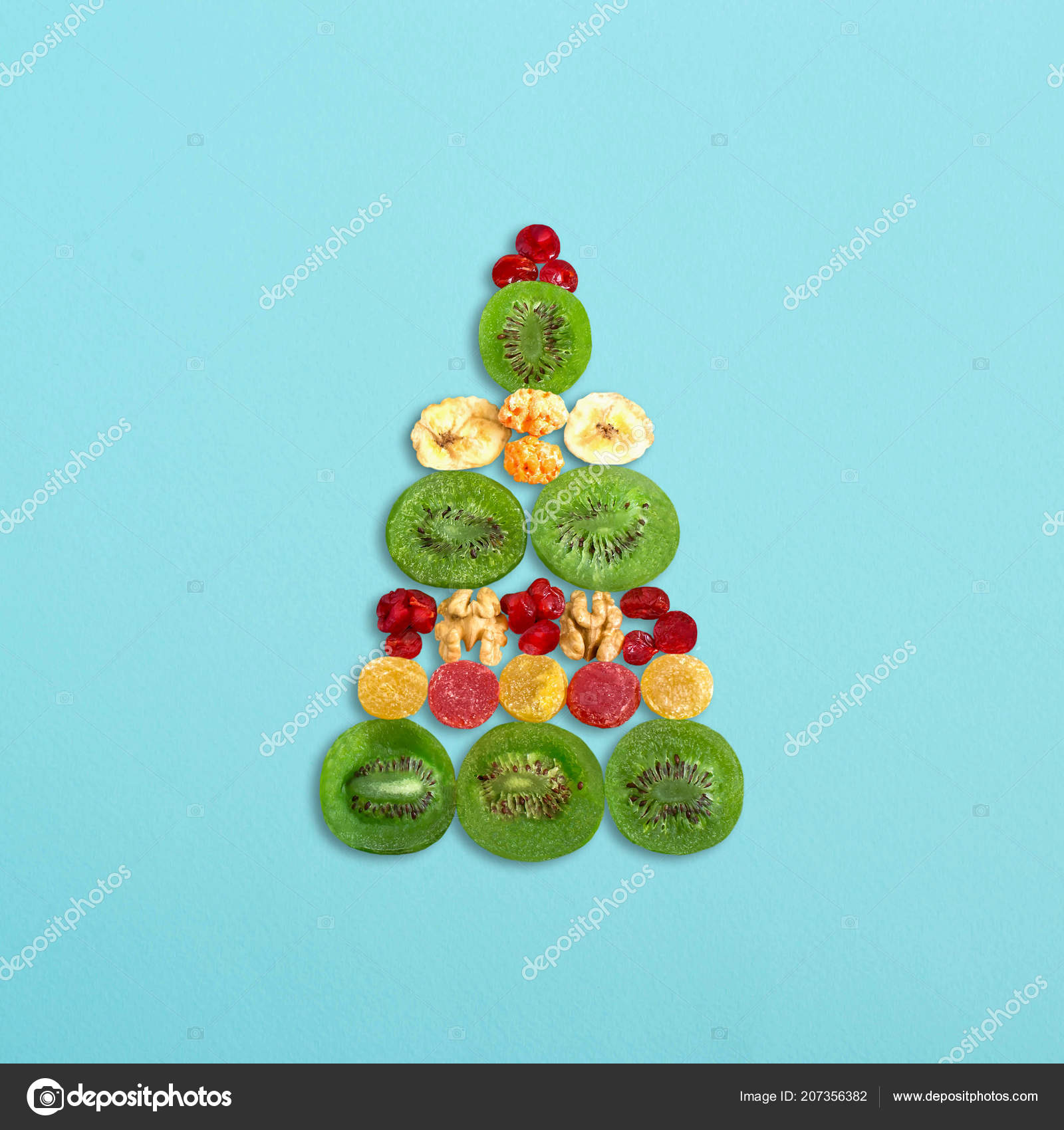 Festive Background Christmas Tree Colorful Can d Fruits Nuts