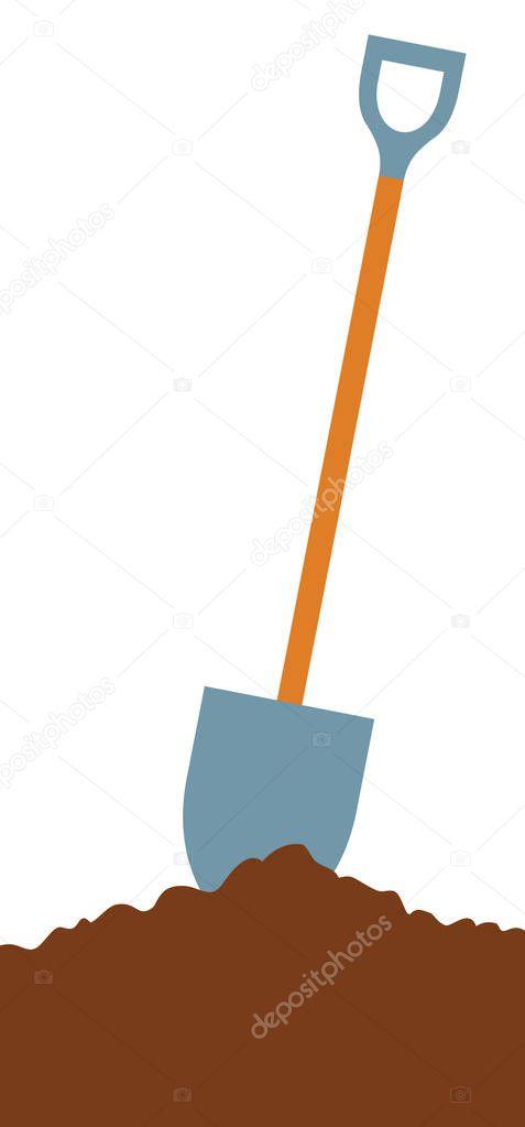 shovel in soil vector illustration