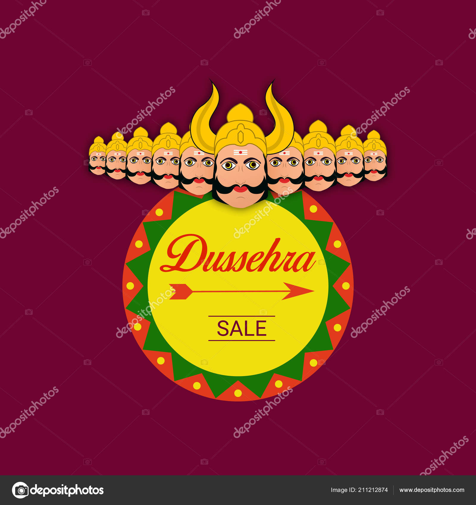 Happy Dussehra Sale Poster Flyer Wallpaper Design Stock Vector
