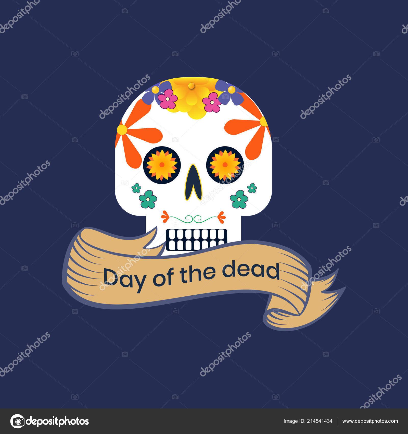 Colorful Maxican Sugar Skull Design Poster Wallpaper Flyer Stock Vector