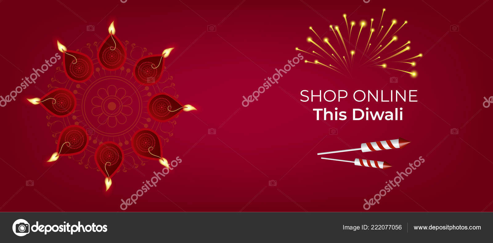 Happy Diwali Party Invitation Card Fireworks Stock Vector