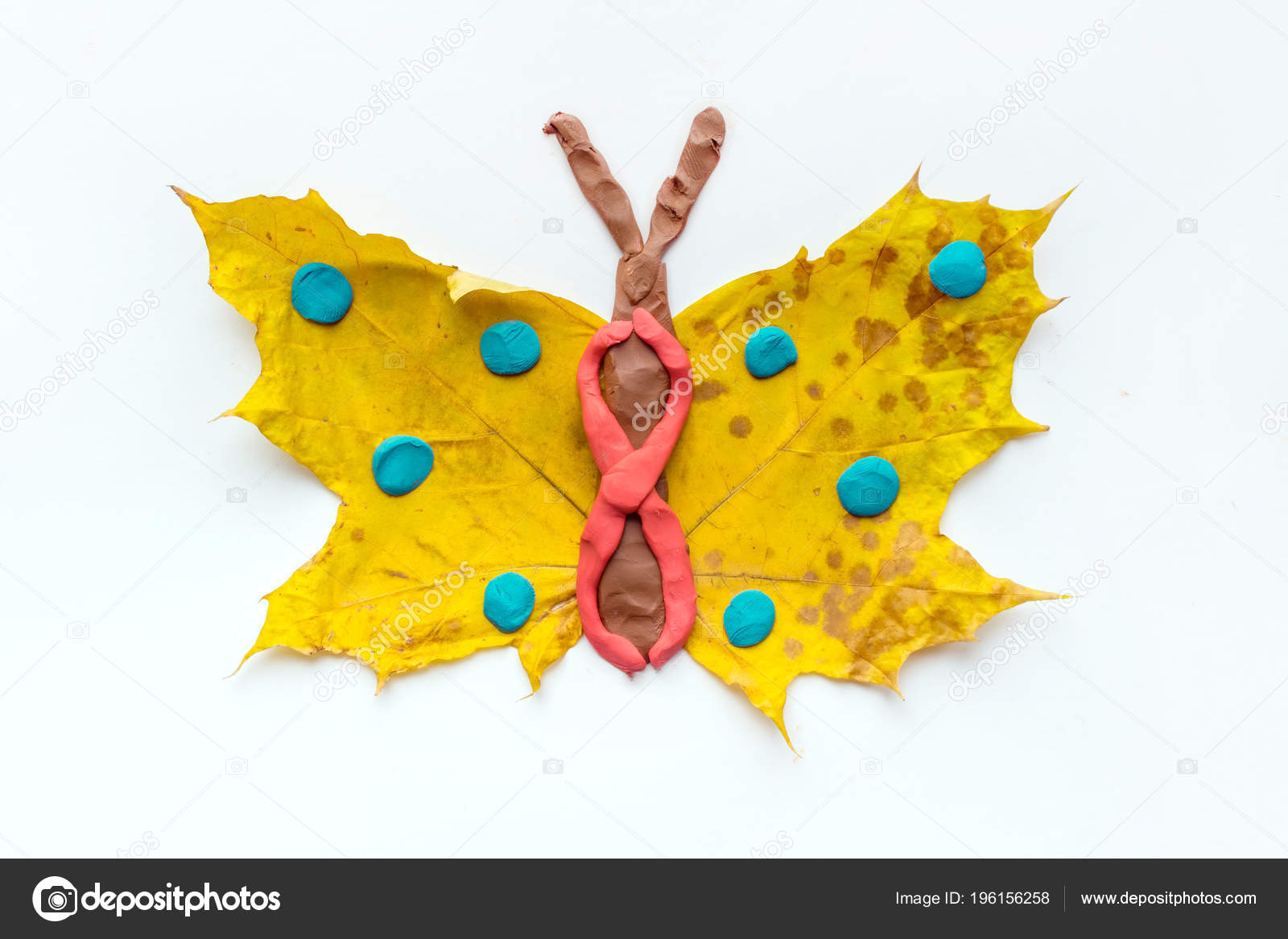 Fall Leaf Crafts Kids Craft Handmade Butterfly Dry Yellow Leaves