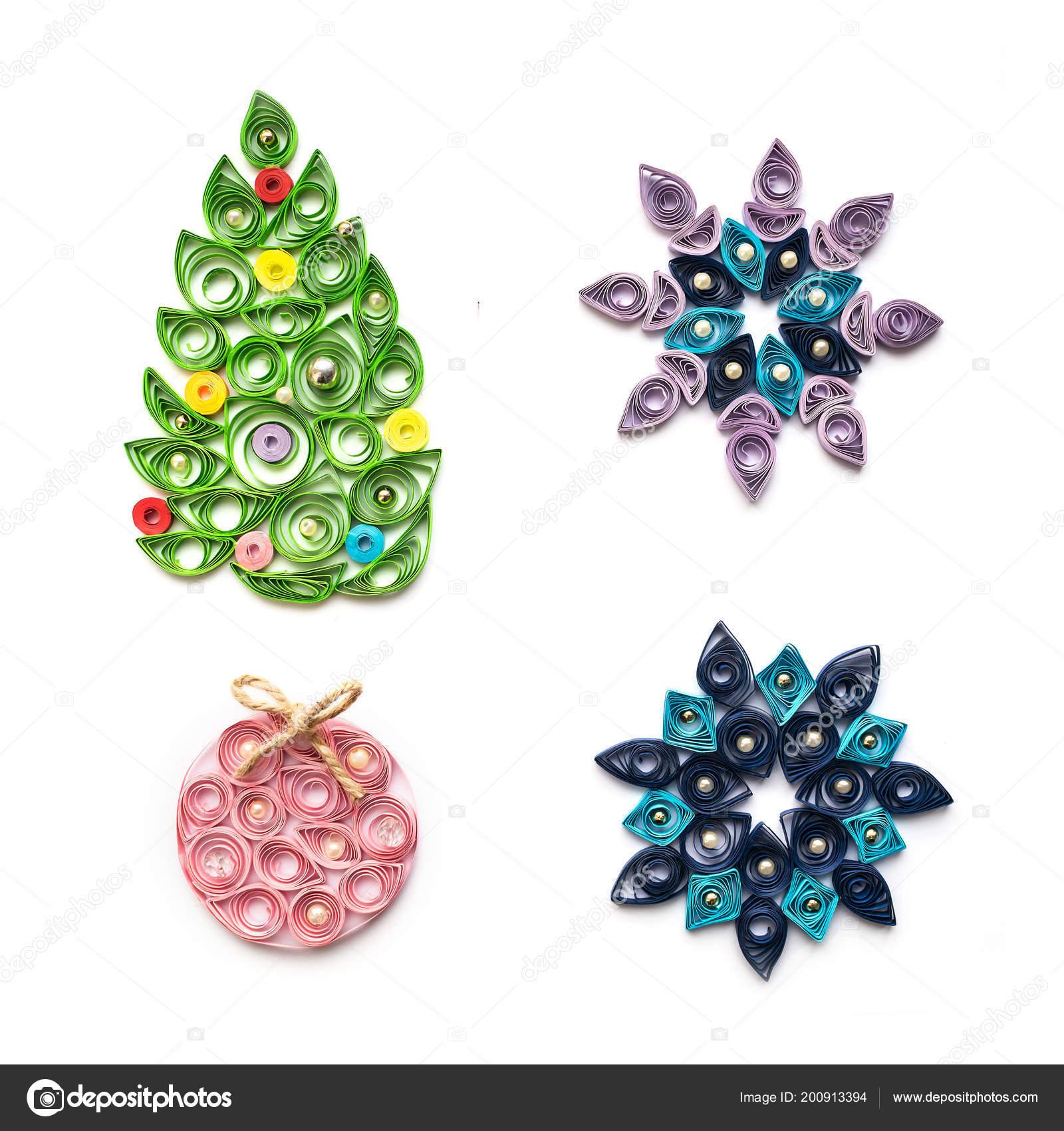 Decorazioni Natalizie Quilling.Set Decorazioni Natale Capodanno Quilling Tecnica Isolato Bianco