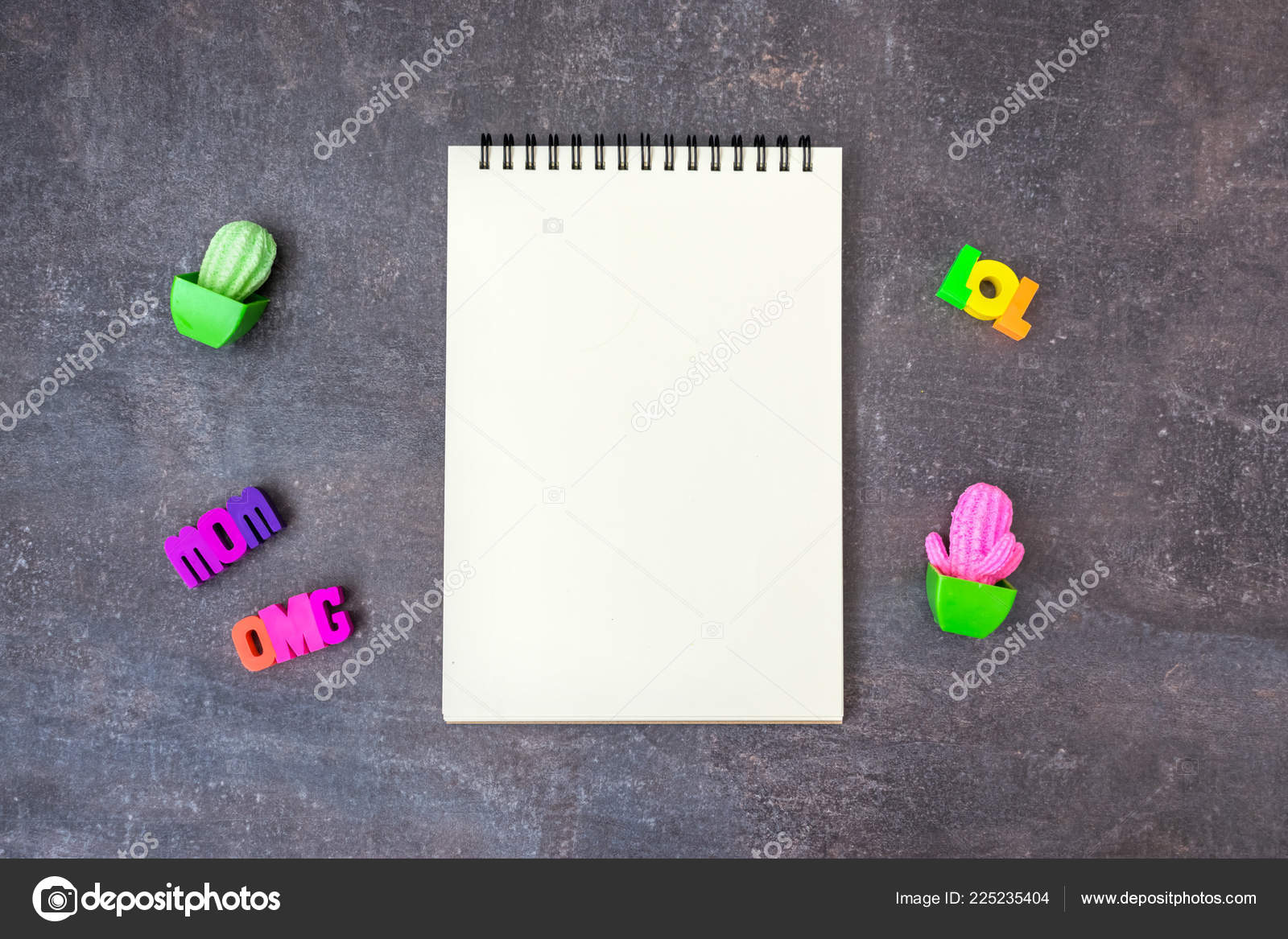 hipster youth cool mockup blank notebook toy cactuses words omg