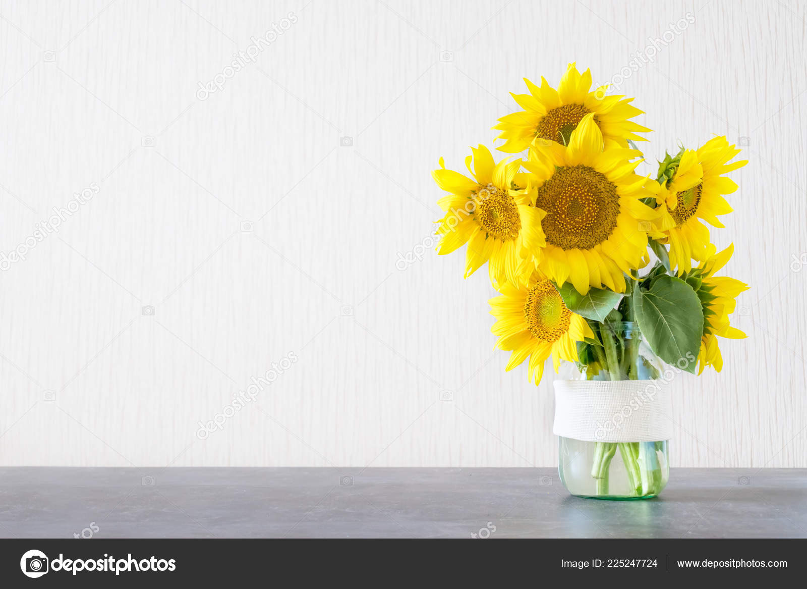 Bright Yellow Big Sunflowers Glass Vase Dark Table Light Texture Stock Photo C Irrmago 225247724