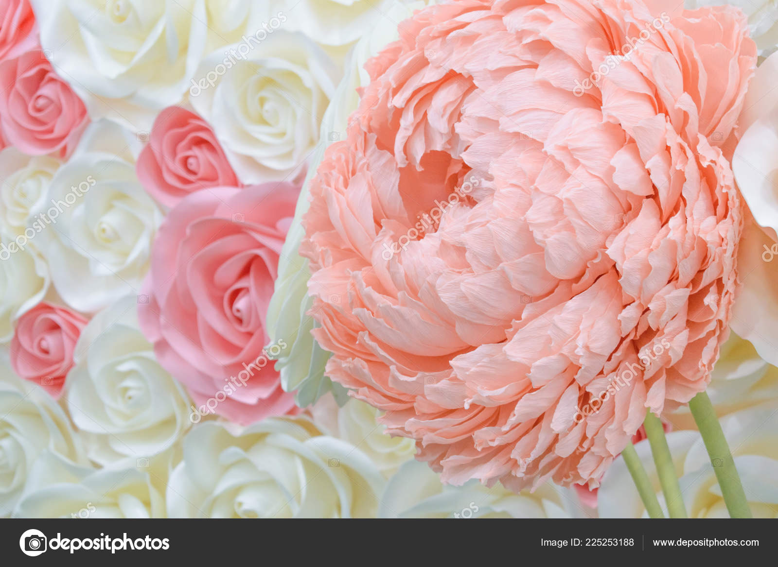 Large Giant Paper Flowers Big Pink White Beige Rose Peony Stock