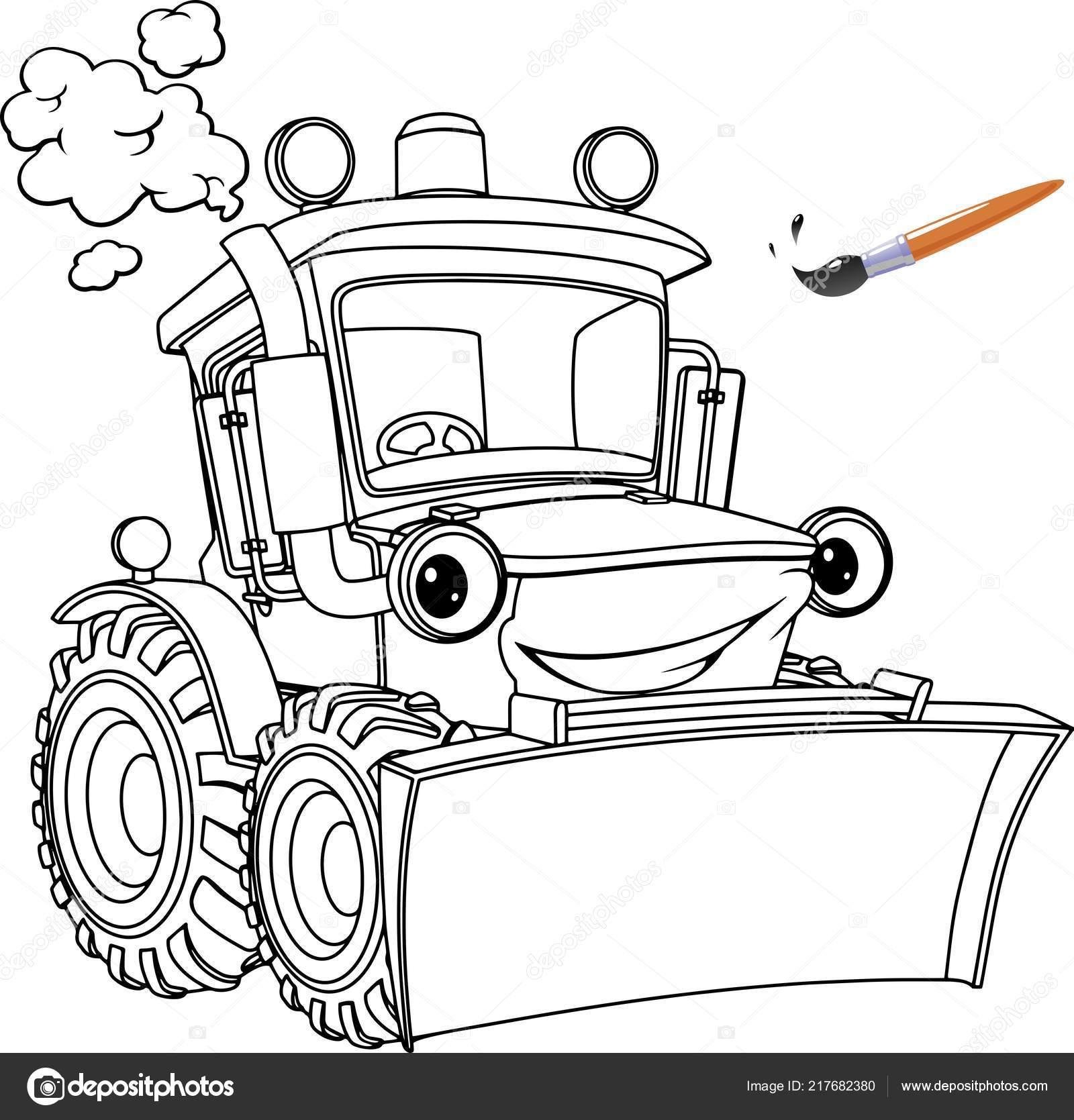Lustige Traktor Bulldozer Malvorlagen Buchgestaltung Für Kinder Und