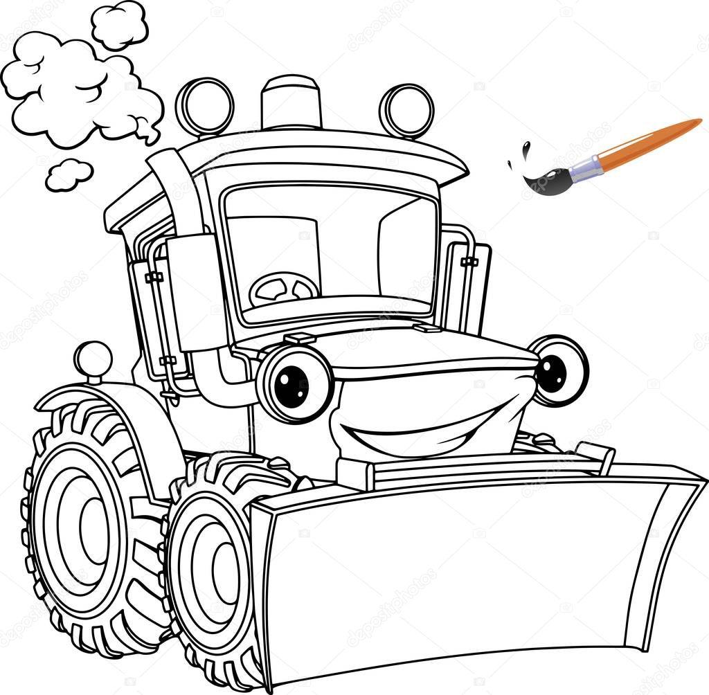 Смешные Трактора Бульдозер Раскраски Страниц Дизайн Книги ...