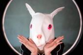 Fotografie Porträt schön Kaninchen Maske Frau: attraktives Mädchen stellt eine Hasenmaske. Bezauberndes schöne Frau aussehen so fröhlich. Der Ostersonntag. Hübsches Mädchen hat einen Schlafanzug und Mode-Party zu maskieren. Sie schauen gefällt mir