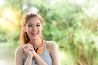 Portrait charming happiness beautiful woman. Attractive girl feel happy, cheerful. Gorgeous woman act like a admiring, love, like, satisfied something. Pretty woman has positive thinking. copy space