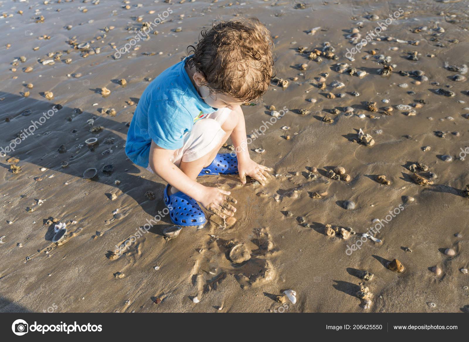 9e58a3175 Child Blue Shirt Playing Seashore Sand Shells — Stock Photo ...