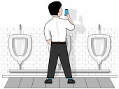 Photo The person in the toilet uses a smartphone.