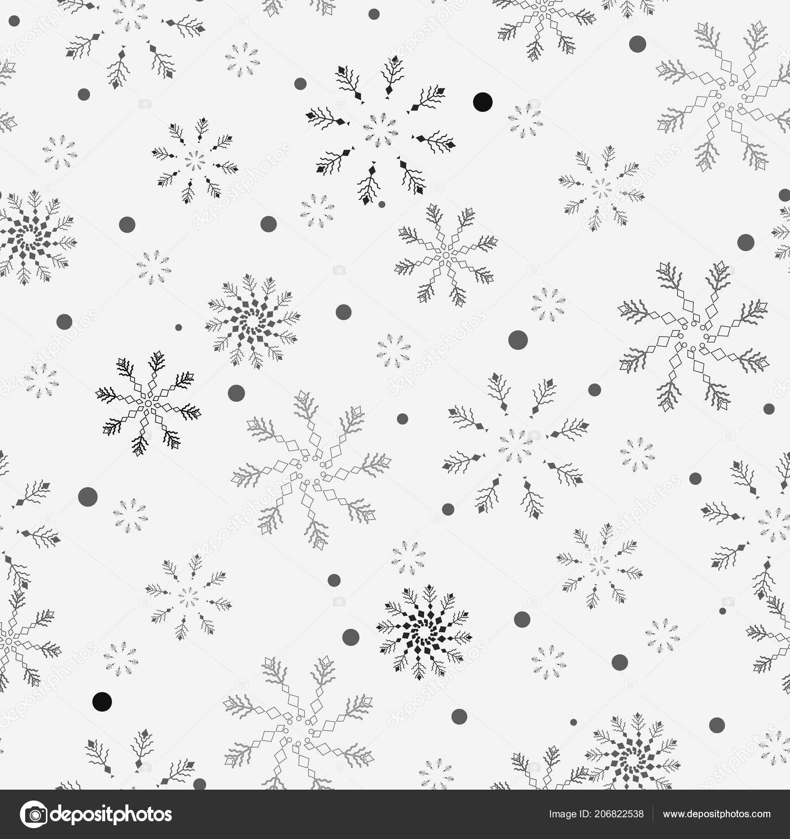 Schneeflocke einfache nahtlose Muster. Schwarzer Schnee auf weißem ...