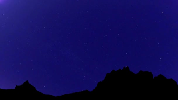 4k_Timelapse of stars moving in night sky over Mountains