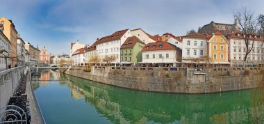 Panoramic view on Ljubljanica river canal in Ljubljana old town