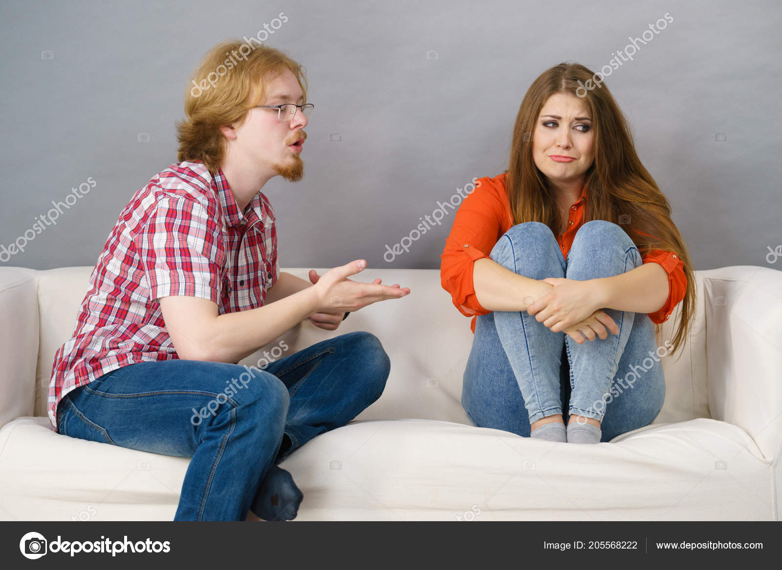 Man Woman Being Mad Each Other Fight Female Sad Friendship