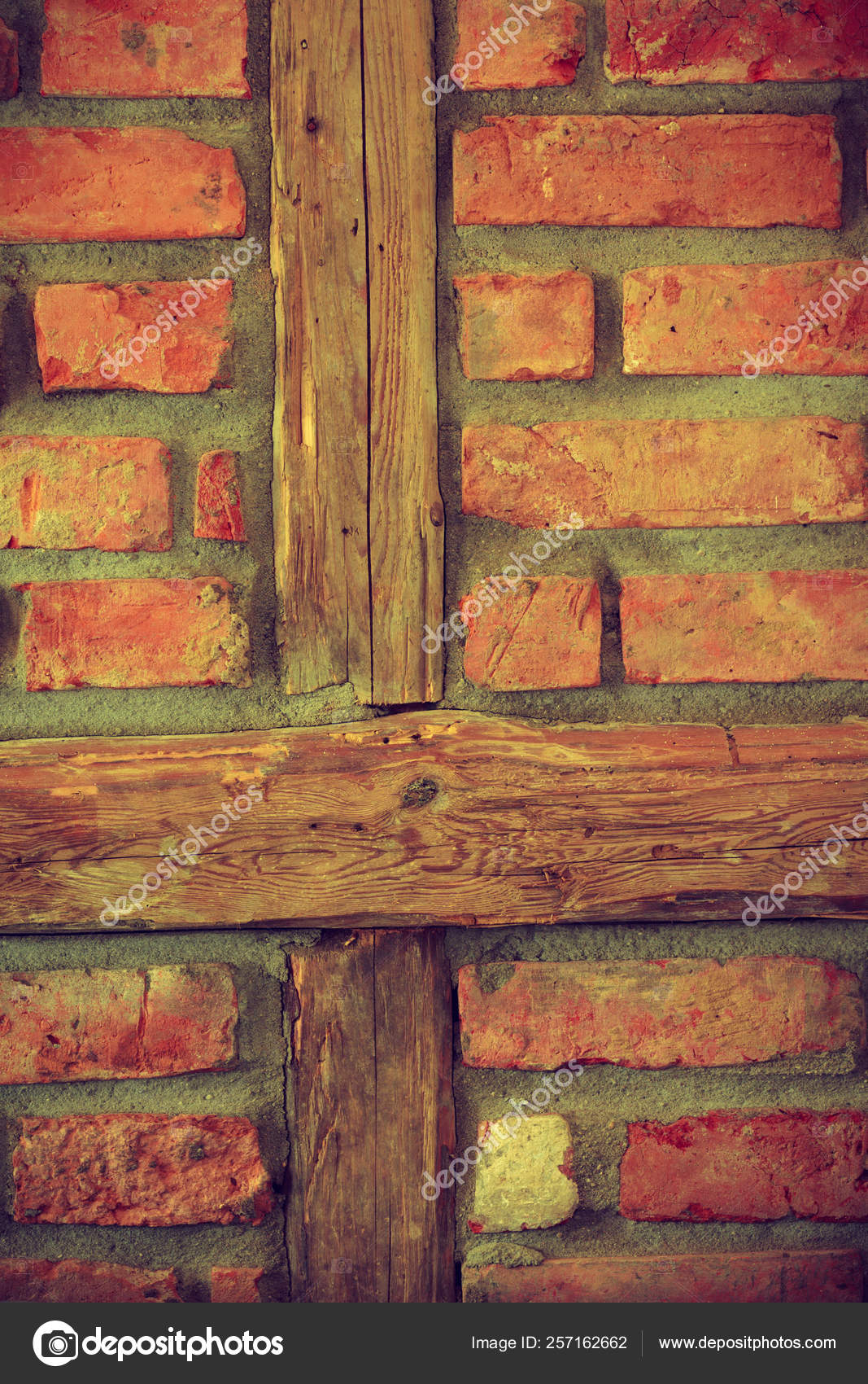 Red Brick Wall With Wooden Pieces Stock Photo Image By C Voyagerix 257162662