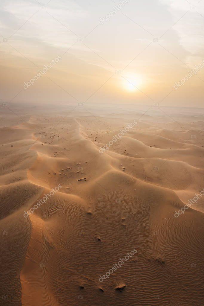 Morning rising sun in desert