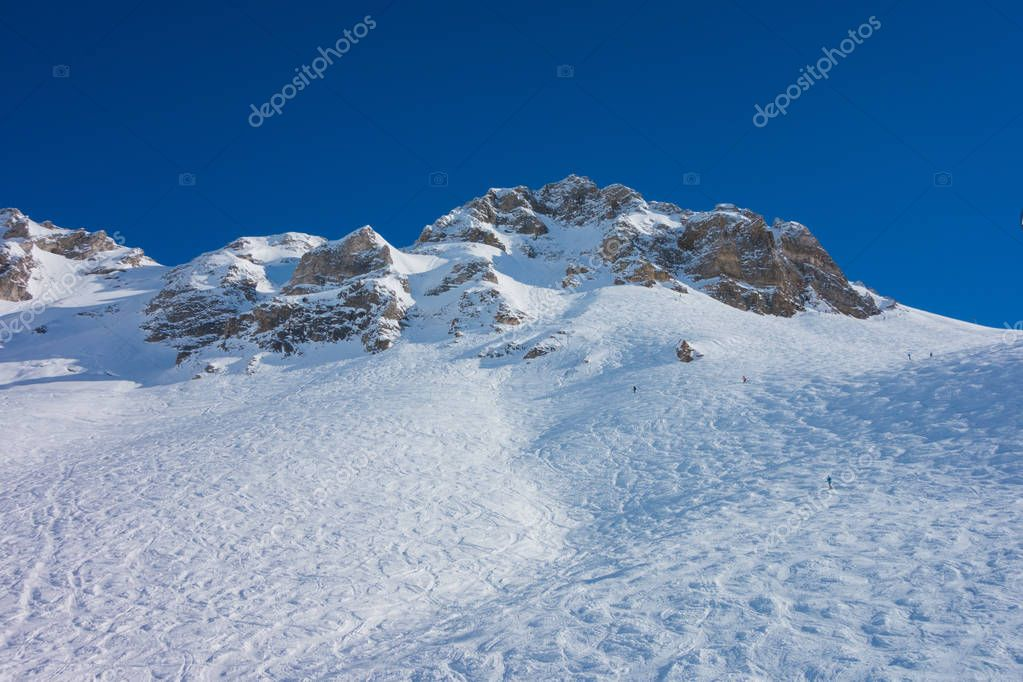 Mountain in the snow and blue sky