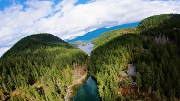 Sakinaw Lake Amazing Narrow Passageway Between Coastal BC Island Mountainscape Aerial Fly Through