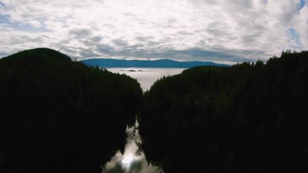 Narrow Passage Through Sakinaw Lake BC to Agamemnon Channel Strait of Georgia Canadian Sunshine Coast Aerial