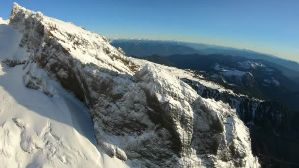 Amazing 3d Mountain Peaks Real Life Aerial View From Helicopter Gimbal Flying Over Snowy North Cascade Range
