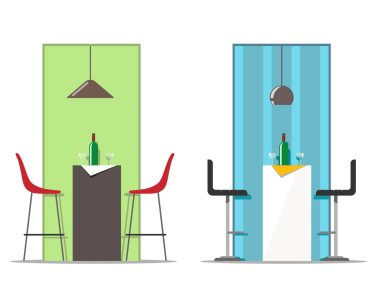 Bar table and chairs with hanging lamp, bottle and glasses. Vector illustration in flat style on a white background.