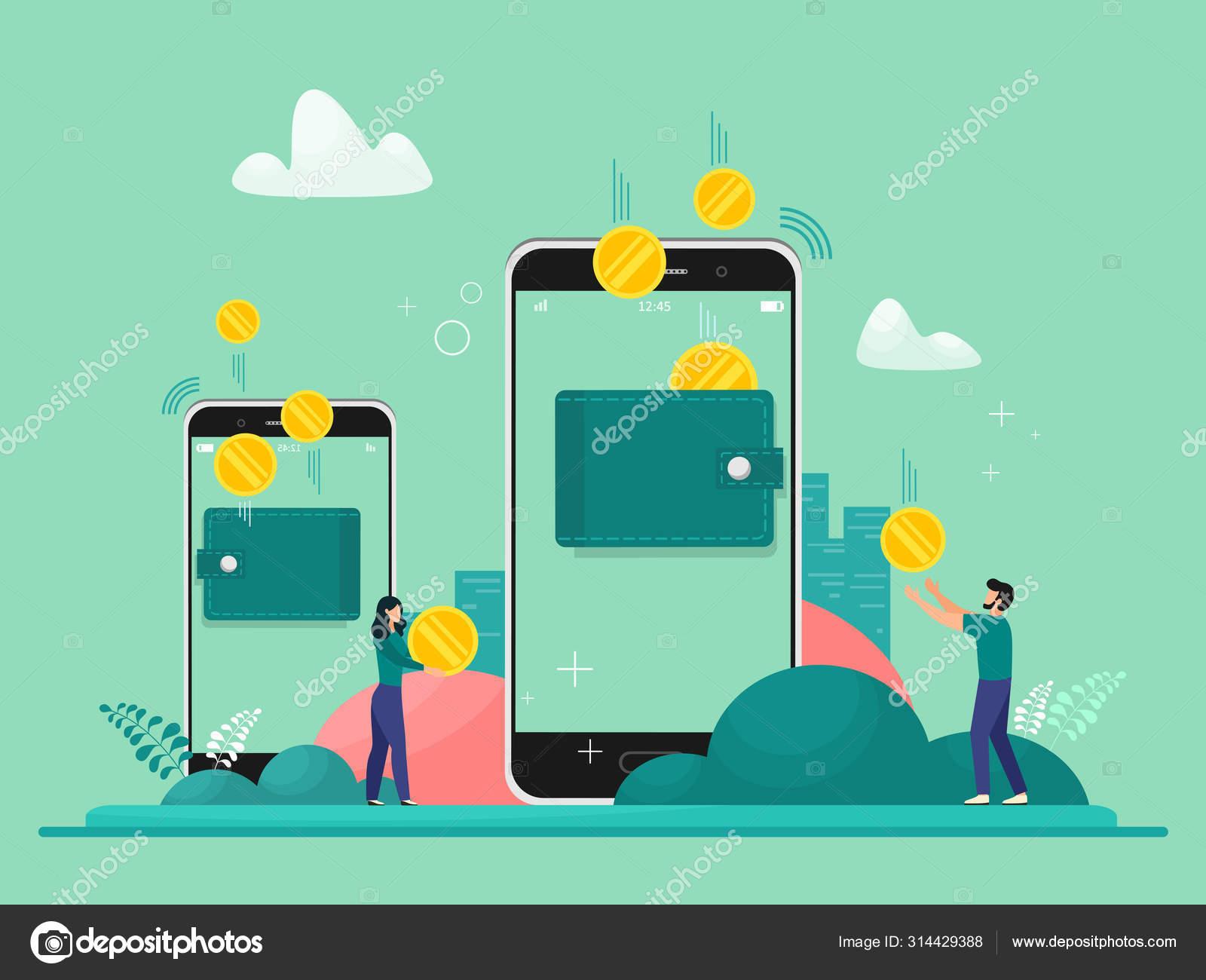 Gambar Uang Koin Kartun Transfer Uang Melalui Ponsel Seluruh Dunia Gambar Vektor Koin Dan Stok Vektor C Ekaterinasun 314429388