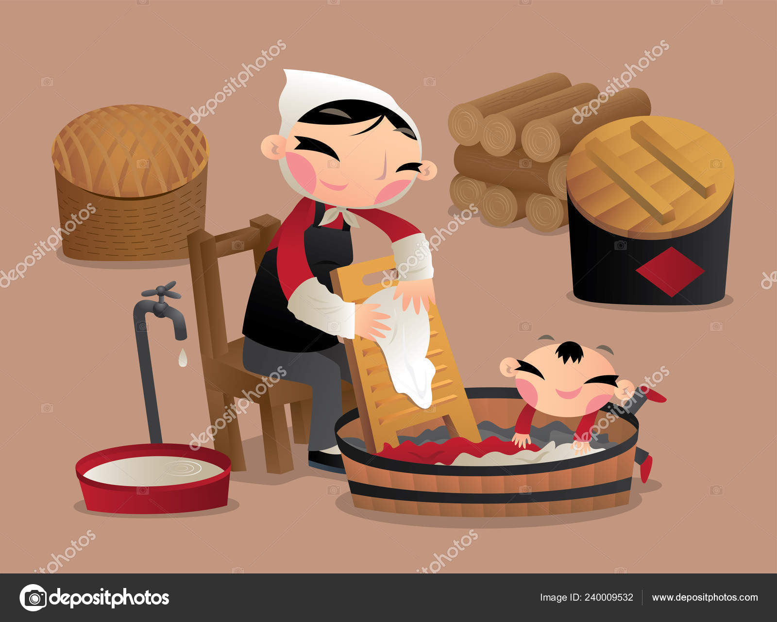 Village Woman Washing Clothes Hand Old China Stock Vector