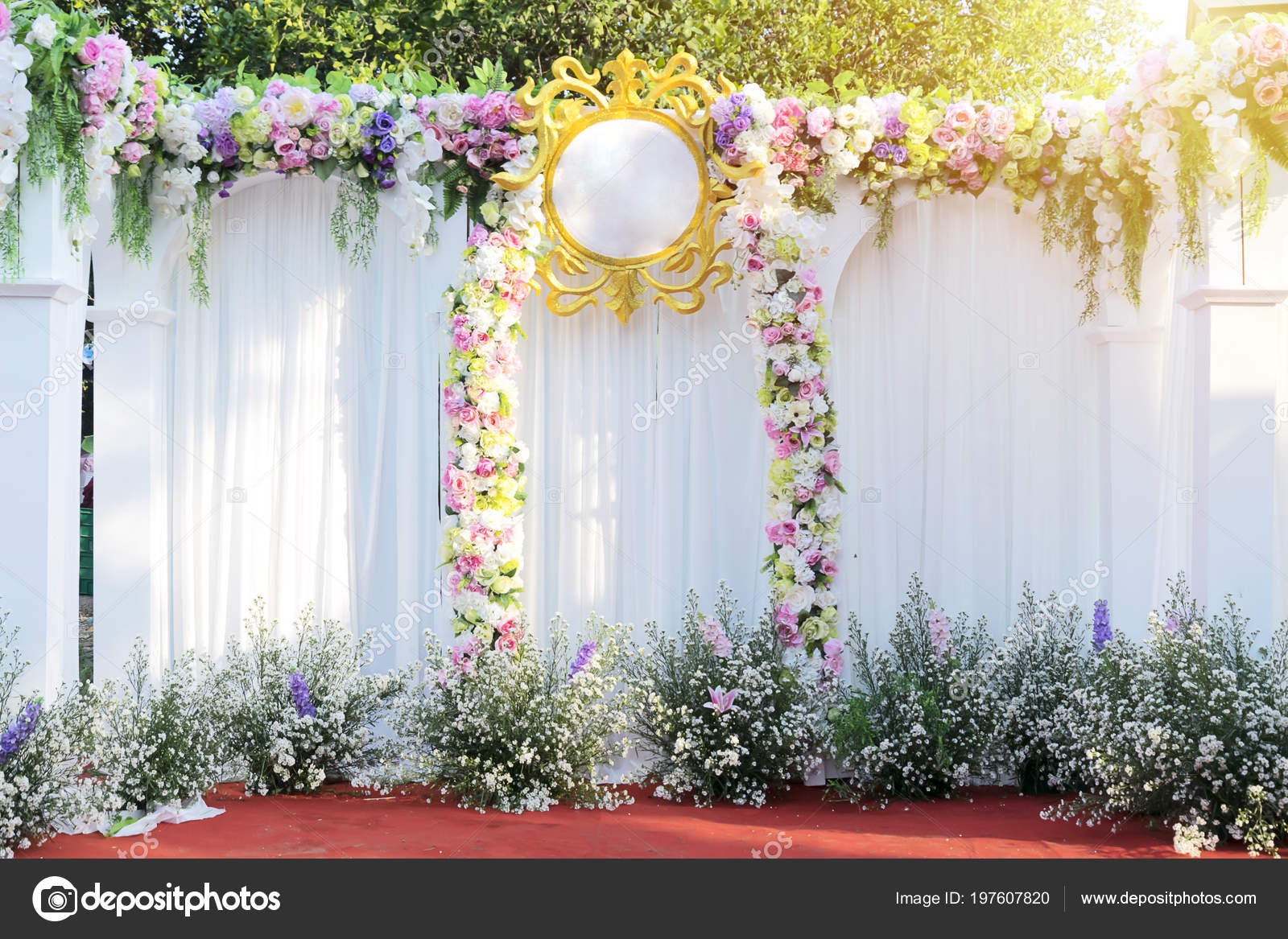 Wedding Alter Flowers Beautiful Flowers Background Wedding Scene