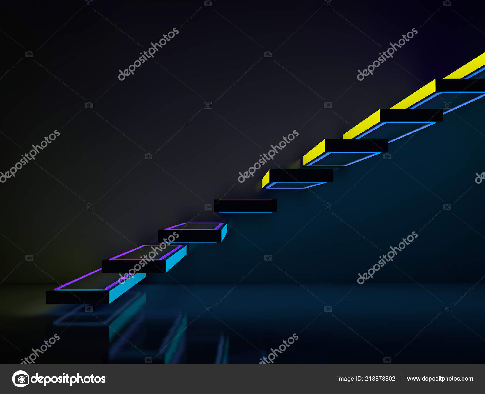Stairs Neon Lights Going Club Disco Rendering — Stock Photo