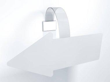 Blank wobbler hanging on wall mockup. 3D rendering