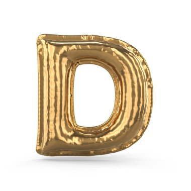 Golden letter D made of inflatable balloon isolated. 3D
