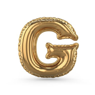 Golden letter G made of inflatable balloon isolated. 3D