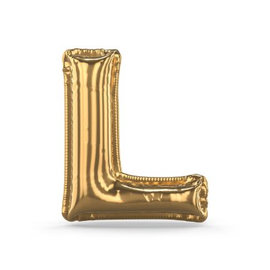 Golden letter L made of inflatable balloon isolated. 3D