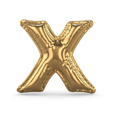 Golden letter X made of inflatable balloon isolated. 3D
