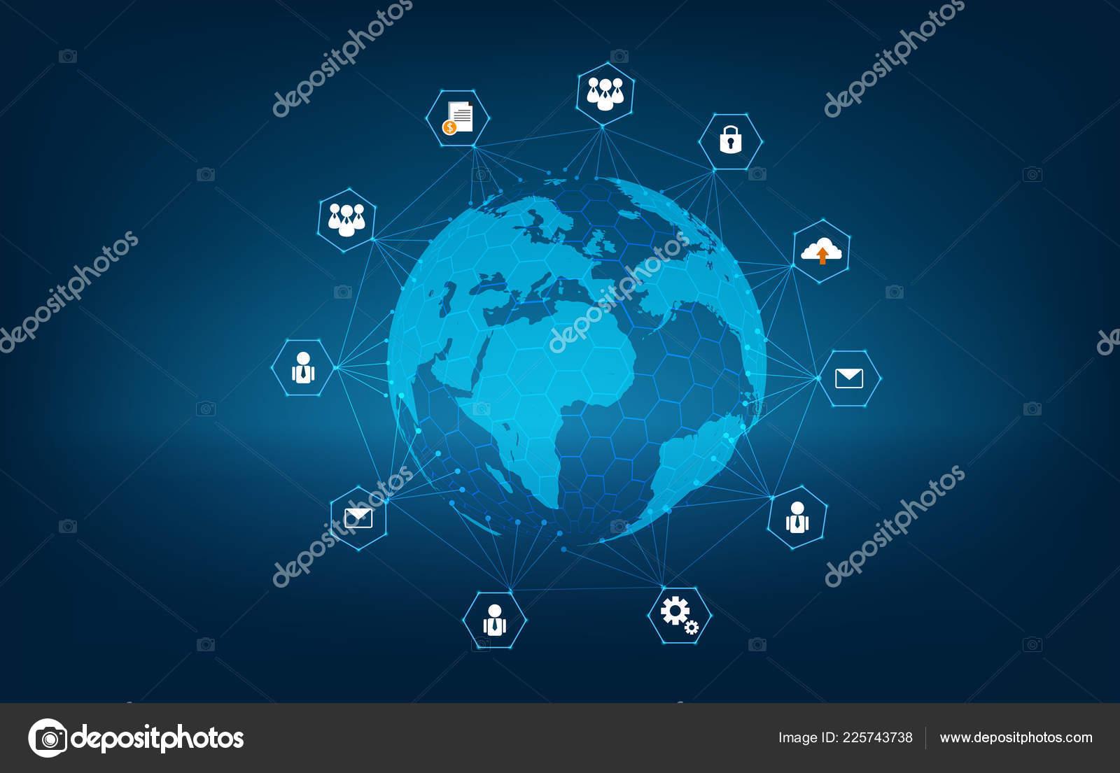 Netzwerk Global Erde Kommunikation Netzwerk Karte Der Welt Blau