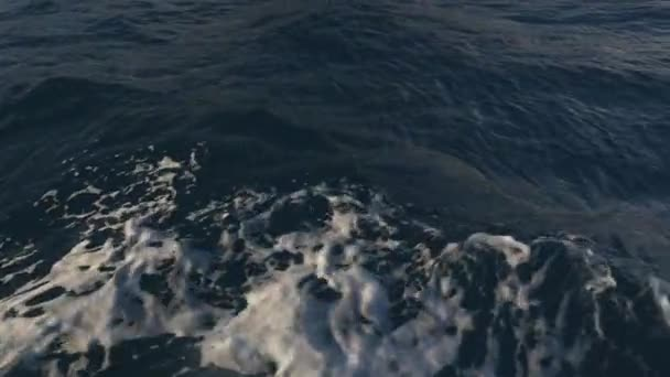 Wellen Wasser Spur Schiff blauer Ozeanhimmel